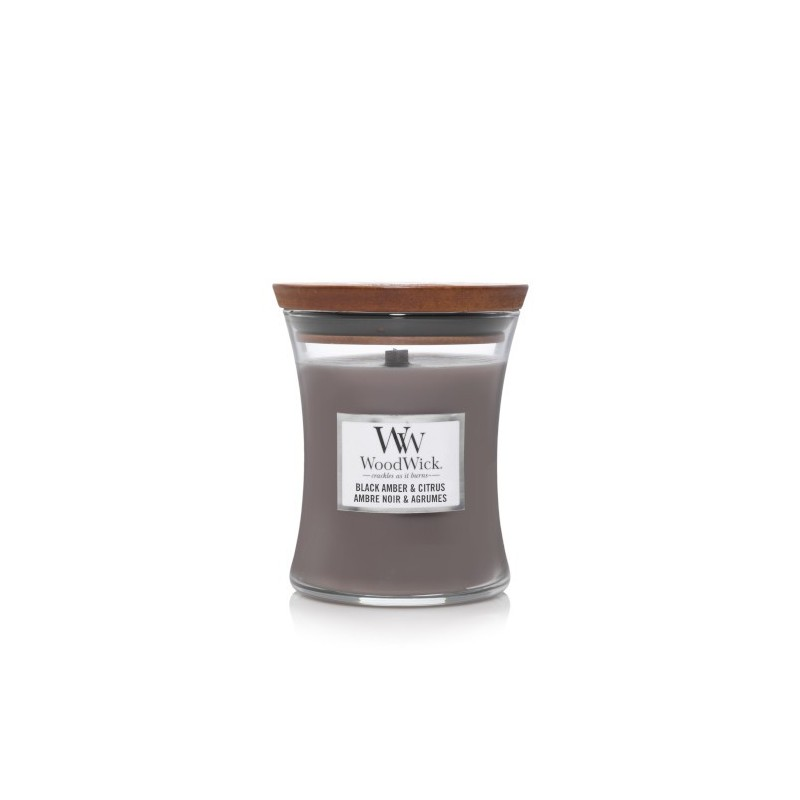 WoodWick Bougies Ambre Noir & Agrumes