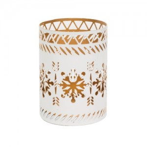 Accessoires Petite Candle Holder White Snowflake