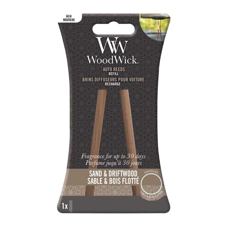 WoodWick Parfum Voiture Auto Reed Refill Sable et bois flotté