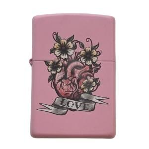 Lighter & Ashtray Zippo Heart Flowers Love Design